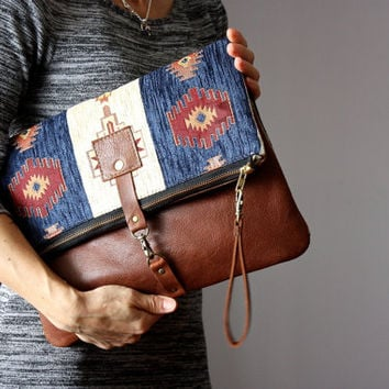 Fold over leather bag, brown leather clutch, bohemian clutch, gipsy bag, kilim bag, hippie bag, Aztec bag, leather bag, carpet bag