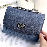 COACH 2019 new starry small square bag chain shoulder Messenger bag
