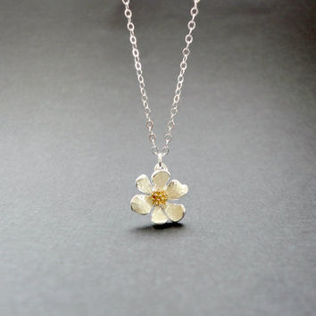 Silver flower necklace, Wedding necklace, Bridesmaid necklace, Flower girl necklace, Simple everyday necklace