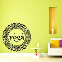 Wall Decal Vinyl Sticker Decals Yoga Mandala Oum Om Circle Sign Wall Decor Art Mural Na64