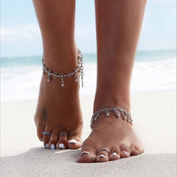 Bohemian Gypsy Turkish Tribal Boho Silver Coin Anklet Ankle Bracelet