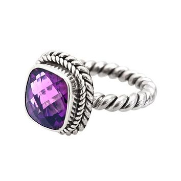 """NKLR-001-AM-9"""" Sterling Silver Ring With Amethyst"""