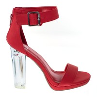 Cargo Red By Delicious, Women Clear Translucent, Perspex Chunky Block Heel Sandal, Lucite
