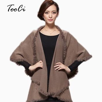 New Winter Autumn Women  Cardigan Fashion Rabbit Fur Collar Cashmere Cape Poncho  Female Knitted  Poncho Coat