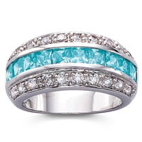 Simulated Blue Topaz Horizon Band Ring