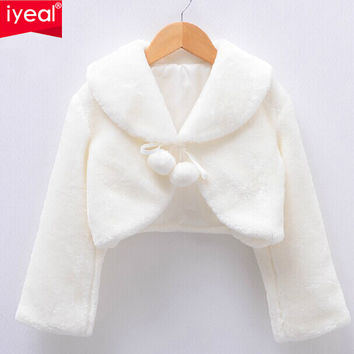 High Quality New Arrival 2015 Girls Jackets and Coats Winter Faux Fur Long Sleeves Kids Baby Coats Fashion Flower Girl Bolero
