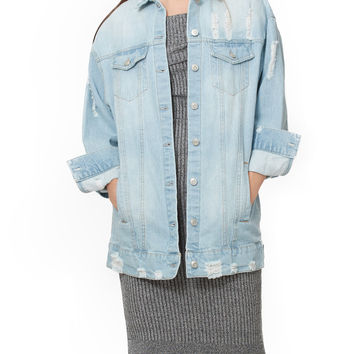 LE3NO Womens Oversized Distressed Long Boyfriend Denim Jean Jacket with Pockets