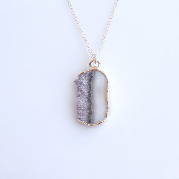 Raw Amethyst Druzy Slice Necklace - Unique White Coloring - OOAK Jewelry