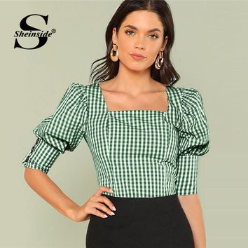 Sheinside Green Square Neck Weekend Casual Tops Office Ladies Gingham Leg-of-mutton Sleeve Button Top 2018 Women Summer Blouses