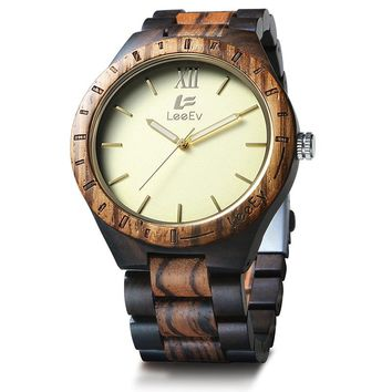 LeeEv Brand NEW Fashion Zebra Black Mixed Wooden Watches Luxury Japan Movement Wood Wristwatch Relogio Masculino Feminino Watch