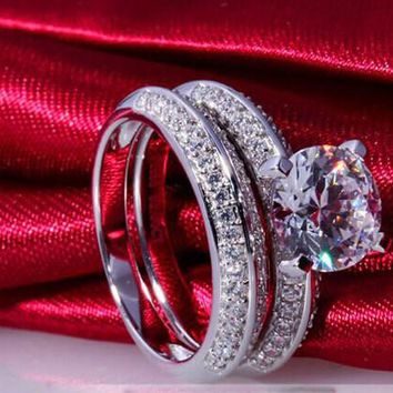 Pure Silver 2CT Engagement Ring S925 Semi Mount Synthetic Diamonds Wedding Rings Set