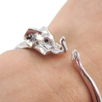 3D Baby Elephant Wrapped Around Your Wrist Shaped Bangle Bracelet in Shiny Silver