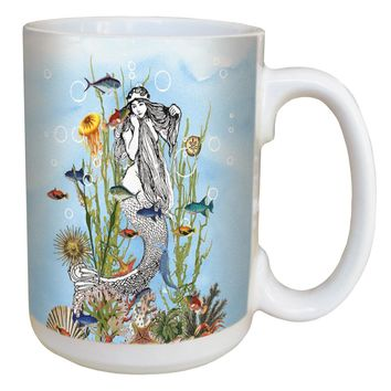 Boho Mermaid Mug - Large 15 oz Ceramic Coffee Mug