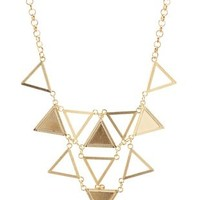 Gold Cut-Out Triangle Bib Necklace by Charlotte Russe