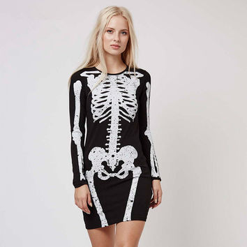 Black Skeleton Mini Dress