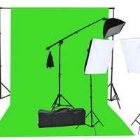 2000 Watt Lighting Kit with 10'x12' Chromakey Green Screen and Three Softbox Lights (One with Boom Arm Hairlight Softbox) for Studio Photography and Video Lighting (F9004SB 10x12G)