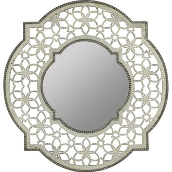 Clarkson Mirror Antique White Finish with Silver Accents