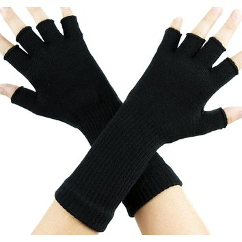Plain Black Fingerless Gloves Arm Warmers Gothic Alternative