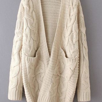 Beige Long Sleeve Cable Knit Cardigan With Dual Pockets [2974244343]