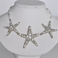 Sparkle-1438 Beautiful Sparkly Triple Starfish Crystal Rhinestone & Swarovski Crystal Necklace, Destination or Beach Wedding