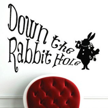 Alice In Wonderland  Inspired Down The Rabbit Hole Vinyl Wall Decal Sticker