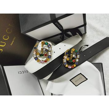 0a290fed9 GUCCI Tide brand women's fashion wild color crystal buckle smooth buckle  belt