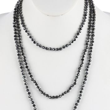 Hematite Iridescent Glass Bead Extra Long Wraparound Necklace