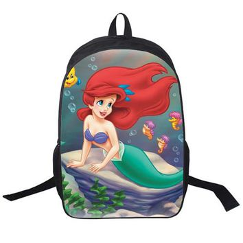 Student Backpack Children 2018 Women Bags moive The Little Mermaid prints Backpack Students School Bag For Girls Boys Rucksack mochila Private customize AT_49_3