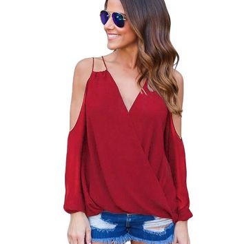 Sexy Women Chiffon Blouse Shirt Strap V-Neck Backless Tank Top Long Sleeve Summer Top Casual Camisas Femininas 2017 Camisa Mujer