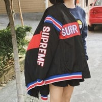 Supreme Fashion Print Zipper Long Sleeve Cardigan Jacket Coat Windbreaker hooded