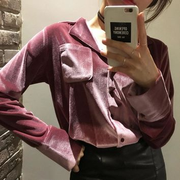 Tops Strong Character Simple Design Velvet Shirt [206228848666]