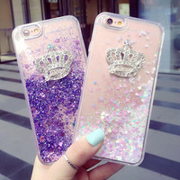 Crystal Crown Quicksand Best Protection iPhone X 8 7 Plus & iPhone 6s 6 Plus Case Personal Tailor Cover + Gift Box