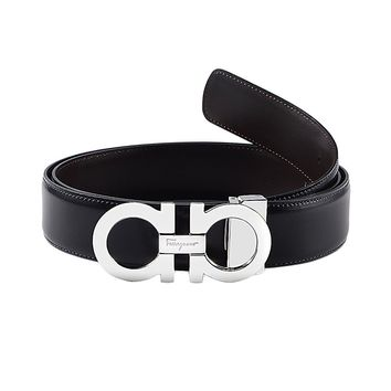 Salvatore Ferragamo Men Calfskin Gancini Belt