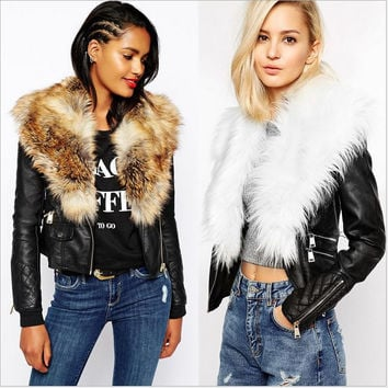 Plus 3XL Lady jacket PU leather faux fur collar women cost high quality