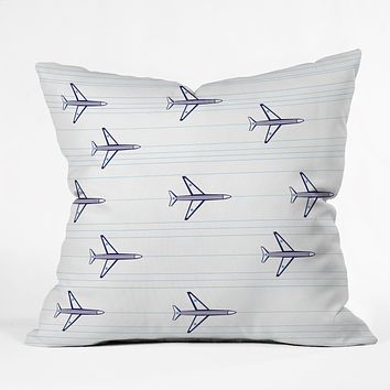 Vy La Airplanes And Stripes Throw Pillow