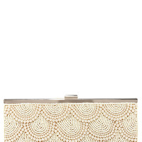 Pearly to Rise Beige Beaded Clutch