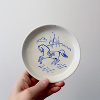 Vintage Porcelain Russian Decorative Plate - RWR Blue Horse Plate - Catch All Dish - Fairytale Decorative Collector's Plate