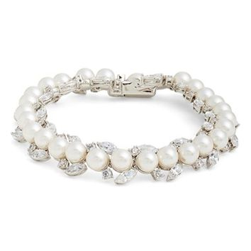 Women's Nadri 'All Around' Cubic Zirconia & Faux Pearl Bracelet - Rhodium