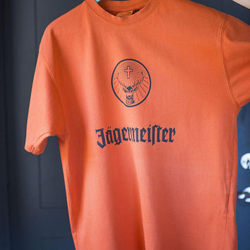 Jagermeister t shirt orange short sleeve vintage. Cotton Tee stag's head antlers. Size M tangerine T shirt for men botanicals drink