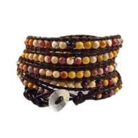 Brown Leather and Natural Mookaite Jasper Wrap Bracelet | Chan Luu Style Wrap Bracelet