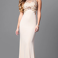 Long Jersey Illusion Back Prom Dress