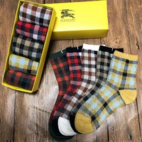 5pcs BURBERRY Casual Sport 100% Cotton Socks with Box