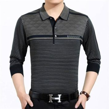 Casual long sleeve business men shirts male striped fashion brand polo shirt designer men