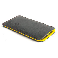 Leather iPhone case. Black iPhone 5 sleeve. Aged leather. yellow felt. iPhone 5 leather sleeve. Premium leather pouch. Distressed leather