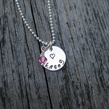 Heart Name Necklace Birthstone Sterling Silver Hand Stamped Personalized Girls Best Friend Tween Teen Birthday Gift Jewelry