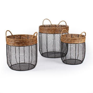 Round Wire Laundry / Storage Basket with Handle (Set of 3)