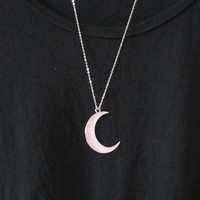 silver moon necklace,moon necklace,crescent moon necklace,Silver hollow star galactic cosmic moon necklace,galaxy necklace,long necklace