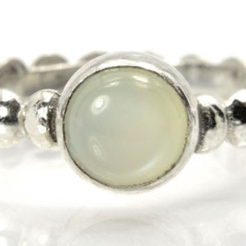 Moonstone Stacking Ring, Sterling Silver Bead Ring with White Moonstone