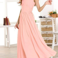 Pink V-Neck Sleeveless Maxi Dress