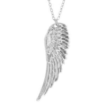 Angel Wing Necklace In Silver Tone